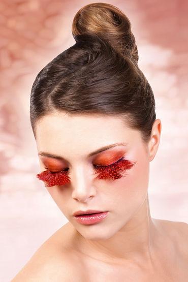 Baci Lashes, оранжево-красный Накладные ресницы с перьями baci lashes черно красный накладные ресницы с перьями