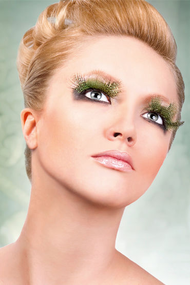 Baci Lashes, темно-зеленый Накладные ресницы с перьями