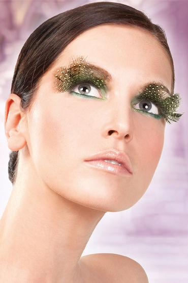 Baci Lashes, темно-зеленый Накладные ресницы с перьями кожаное лаковое и латексное белье для эротических игр