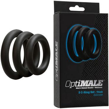 Doc Johnson Optimale 3 C-Ring Set Thick, черные Набор толстых эрекционных колец