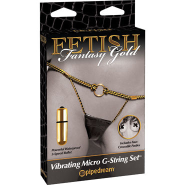 Pipedream Fetish Fantasy Gold Vibrating Micro G-String Set Вибротрусики