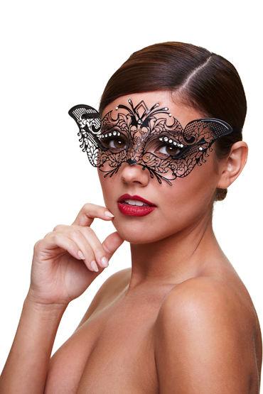 Baci Dreams Mask Madame Маска со стразами candy girl бюстгальтер и трусики чёрные из сетки с цветочным рисунком