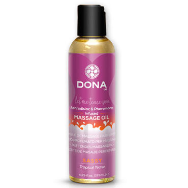 "Dona Scented Massage Oil Sassy Aroma Tropical Tease, 125 мл, Массажное масло с ароматом ""Страсть"""