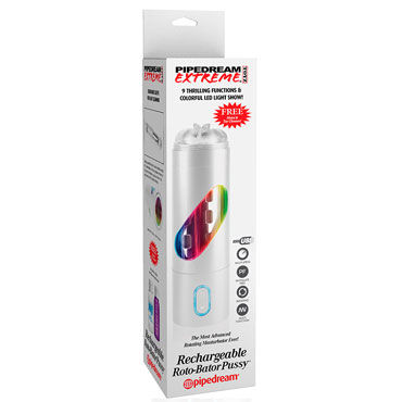 Pipedream Rechargeable Roto-Bator Pussy, белый, Мастурбатор-ротатор, вагина