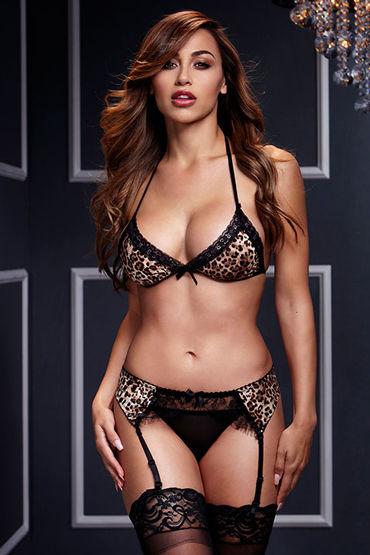 Baci Эротический комплект, леопардовый Бюстгалтер, пояс с подвязками, трусики корсет и стринги passion brida corset размер 2xl 3xl цвет красный