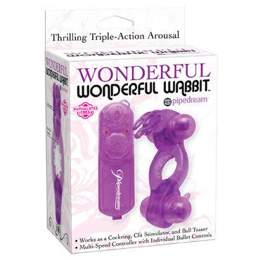 Pipedream Wonderful Wonderful Wabbit, фиолетовый Эрекционное кольцо с двумя виброэлементами с пультом управления lovetoy power heart clit cockring черное эрекционное кольцо с вибрацией