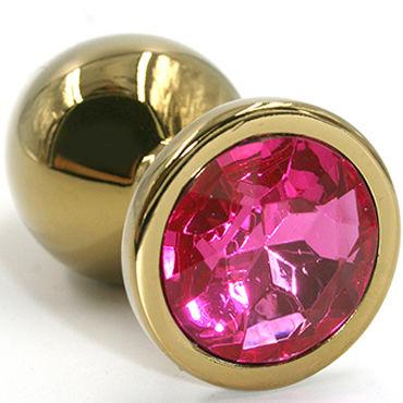 Kanikule Большая анальная пробка, золотая С розовым кристаллом kanikule малая анальная пробка серебристая с темно зеленым кристаллом