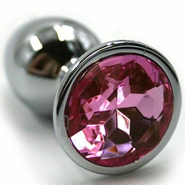 Kanikule Средняя анальная пробка, серебристая Со светло-розовым кристаллом и оковы и кандалы материал abs пластик