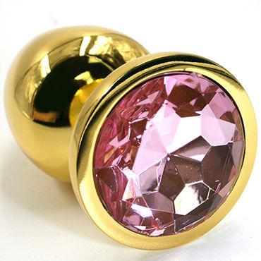 Kanikule Средняя анальная пробка, золотая Со светло-розовым кристаллом kanikule вибратор с led подсветкой