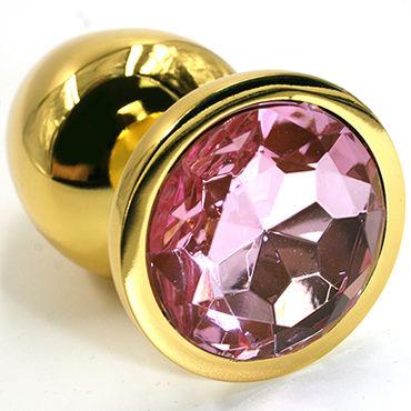 Kanikule Малая анальная пробка, золотая Со светло-розовым кристаллом kanikule малая анальная пробка серебристая с темно зеленым кристаллом
