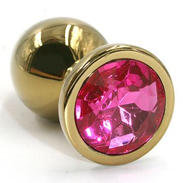 Kanikule Средняя анальная пробка, золотая С темно-розовым кристаллом kanikule малая анальная пробка серебристая с темно зеленым кристаллом