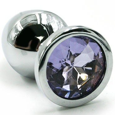 Kanikule Средняя анальная пробка, серебристая Со светло-фиолетовым кристаллом серебристая пробка с пушистым хвостиком