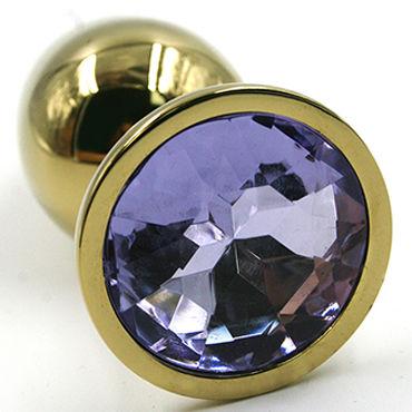 Kanikule Средняя анальная пробка, золотая Со светло-фиолетовым кристаллом kanikule малая анальная пробка серебристая с темно зеленым кристаллом