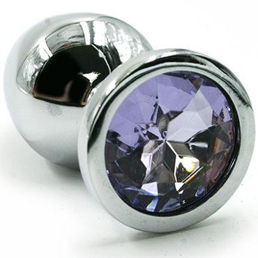 Kanikule Малая анальная пробка, серебристая Со светло-фиолетовым кристаллом серебристая пробка с пушистым хвостиком
