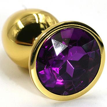 Kanikule Малая анальная пробка, золотая С темно-фиолетовым кристаллом you2toys colorful joy фиолетовая пробка с фиолетовым кристаллом