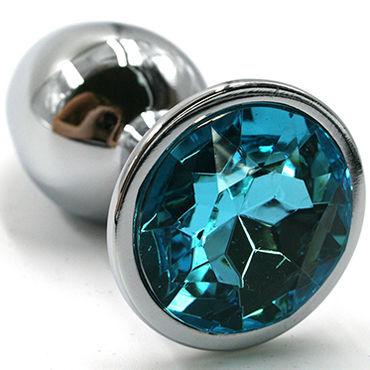 Kanikule Средняя анальная пробка, серебристая С голубым кристаллом kanikule средняя анальная пробка серебристая с голубым кристаллом