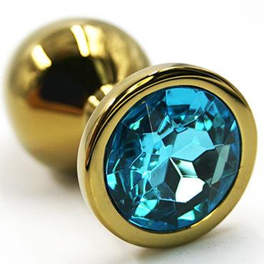 Kanikule Средняя анальная пробка, золотая С голубым кристаллом toyfa