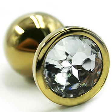 Kanikule Большая анальная пробка, золотая С прозрачным кристаллом kanikule малая анальная пробка серебристая с темно зеленым кристаллом
