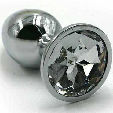 Kanikule Средняя анальная пробка, серебристая С прозрачным кристаллом kanikule малая анальная пробка серебристая с темно зеленым кристаллом