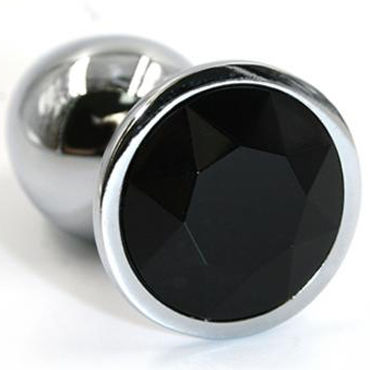Kanikule Большая анальная пробка, серебристая С черным кристаллом kanikule малая анальная пробка серебристая с темно зеленым кристаллом