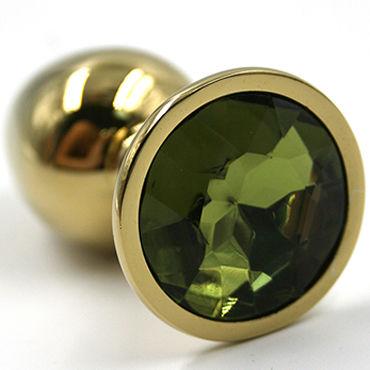 Kanikule Средняя анальная пробка, золотая Со светло-зеленым кристаллом kanikule малая анальная пробка серебристая с темно зеленым кристаллом