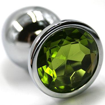 Kanikule Малая анальная пробка, серебристая Со светло-зеленым кристаллом kanikule вибратор с led подсветкой