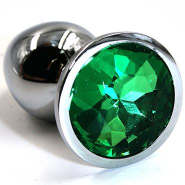 Kanikule Средняя анальная пробка, серебристая С темно-зеленым кристаллом kanikule средняя анальная пробка серебристая с голубым кристаллом