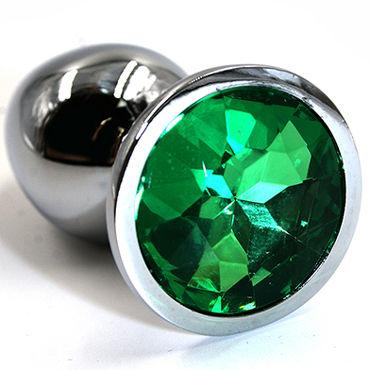 Kanikule Малая анальная пробка, серебристая С темно-зеленым кристаллом doc johnson stretch анальная пробка с тоннелем