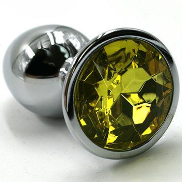 Kanikule Средняя анальная пробка, серебристая Со светло-желтым кристаллом серебристая пробка с пушистым хвостиком