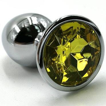 Kanikule Малая анальная пробка, серебристая Со светло-желтым кристаллом серебристая пробка с пушистым хвостиком