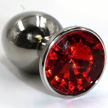 Kanikule Большая анальная пробка, серебристая С красным кристаллом fun factory и balls черный з