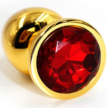 Kanikule Большая анальная пробка, золотая С красным кристаллом kanikule малая анальная пробка серебристая с темно зеленым кристаллом