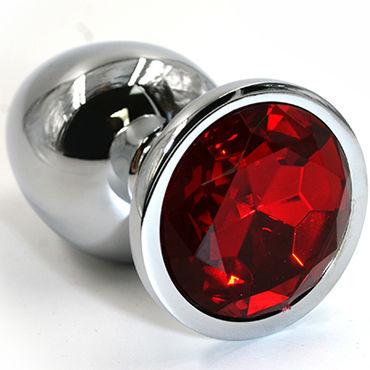 Kanikule Средняя анальная пробка, серебристая С красным кристаллом kanikule средняя анальная пробка серебристая с голубым кристаллом
