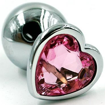 Kanikule Средняя анальная пробка, серебристая Со светло-розовым кристаллом в форме сердца kanikule малая анальная пробка серебристая с темно зеленым кристаллом