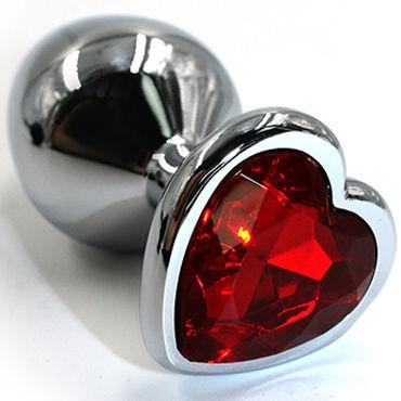 Kanikule Большая анальная пробка, серебристая С красным кристаллом в форме сердца vitalis stimulation