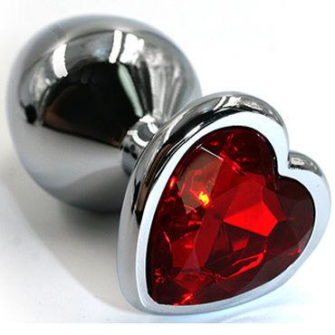 Kanikule Средняя анальная пробка, серебристая С красным кристаллом в форме сердца kanikule средняя анальная пробка серебристая с голубым кристаллом