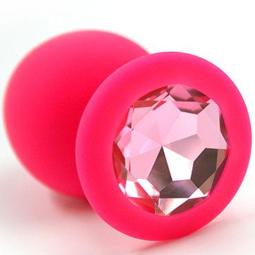 Kanikule Большая анальная пробка, розовая С розовым кристаллом kanikule малая анальная пробка серебристая с темно зеленым кристаллом