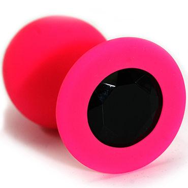 Kanikule Средняя анальная пробка, розовая С черным кристаллом kanikule малая анальная пробка серебристая с темно зеленым кристаллом