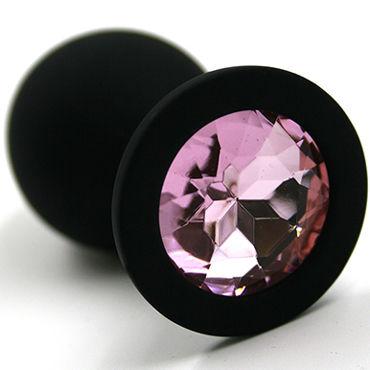 Kanikule Большая анальная пробка, черная С розовым кристаллом kanikule малая анальная пробка серебристая с темно зеленым кристаллом