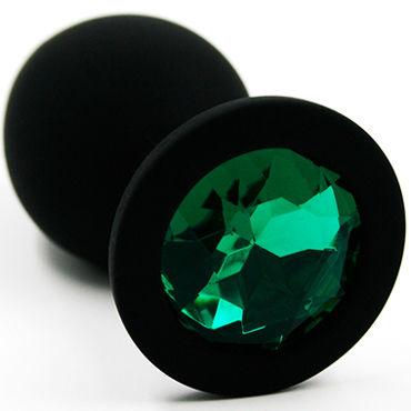 Kanikule Средняя анальная пробка, черная С темно-зеленым кристаллом toyfa theatre вервка для бондажа 10м черная плетеная
