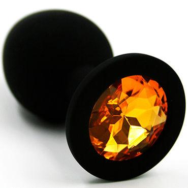 Kanikule Средняя анальная пробка, черная Со светло-желтым кристаллом kanikule малая анальная пробка серебристая с темно зеленым кристаллом
