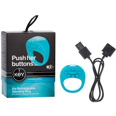 Jopen Key Ela, голубой Виброкольцо с перезаряжаемым аккумулятором л кольца и насадки на пенис jopen