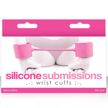 NS Novelties Silicone Submissions Wrist Cuffs, розовый Мягкие силиконовые наручники