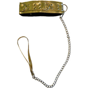 Sitabella ошейник, золотой С меховой подкладкой и поводком lola toys slim anal plug large черная анальная пробка средняя