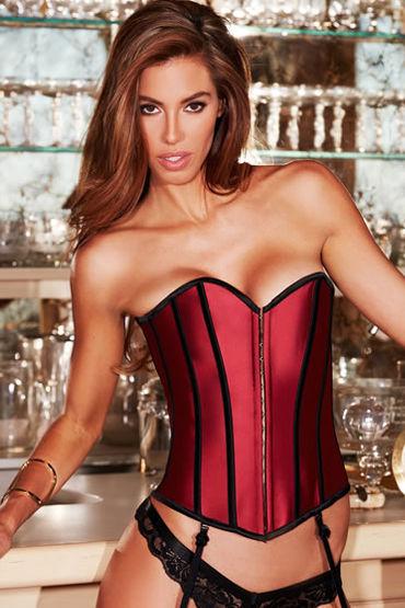 Baci Satin Heart Corset, красный Корсет с подтяжками для чулок с baci essential satin amp leather corset