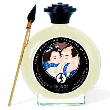 Shunga Body Painting, 100 мл Съедобная краска для тела, ваниль и шоколад shunga vanilla fetish 100 мл inktec