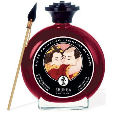 Shunga Body Painting, 100 мл Съедобная краска для тела, клубника и шампанское shunga vanilla fetish 100 мл inktec