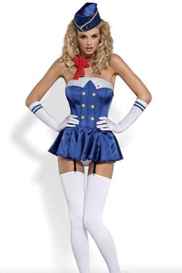 Obsessive Stewardess corset, синий Костюм сексуальной стюардессы