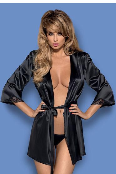 Obsessive Satinia Elegant Robe & Thong, черный Элегантный пеньюар