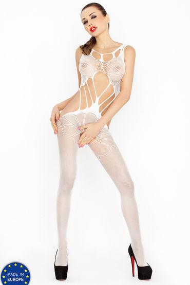 Passion Кэтсьюит, белый С пикантным вырезом cotelli платье горничной черно белое с открытой спиной с застежкой на шее
